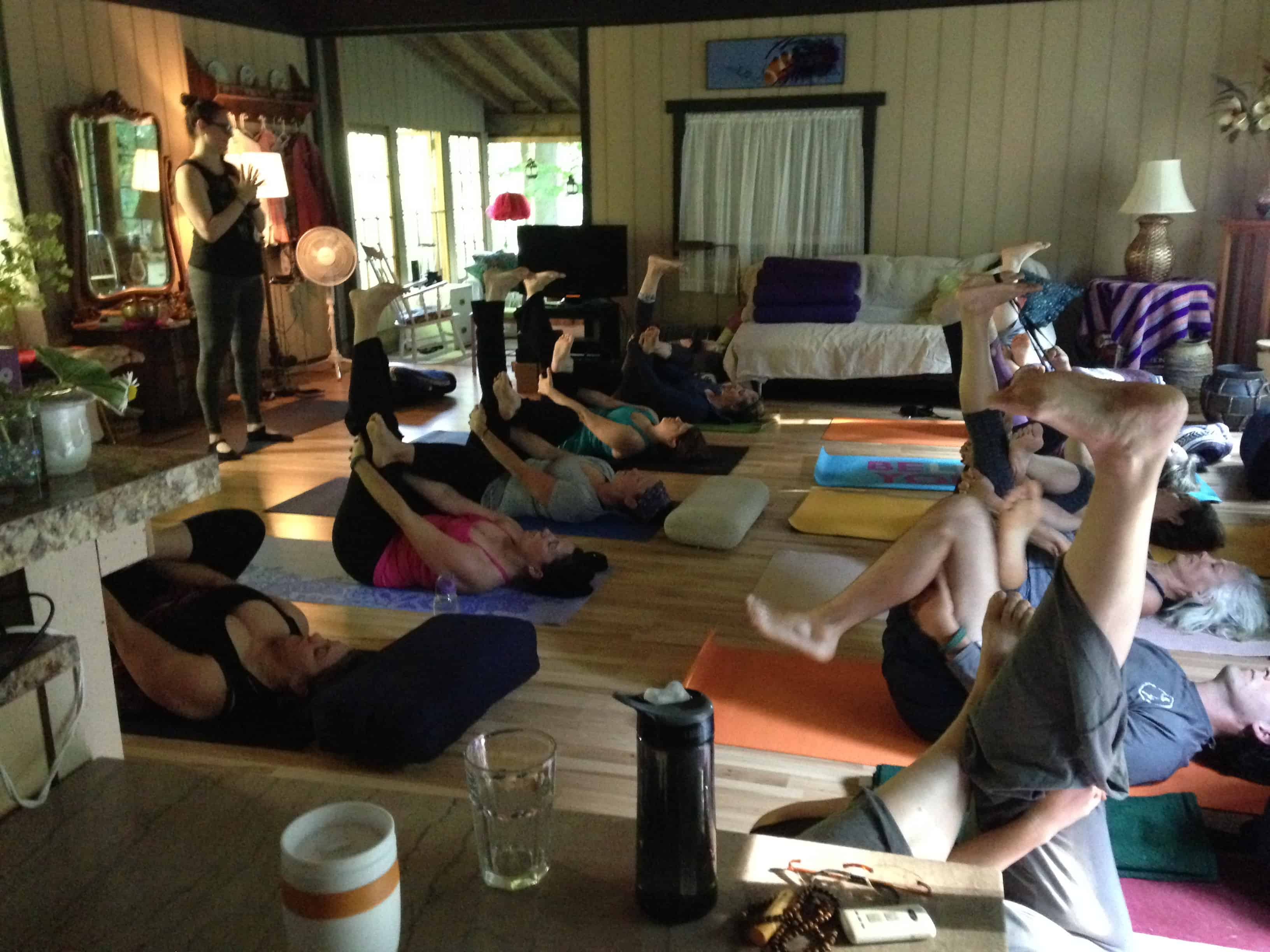 Yoga class in the barn